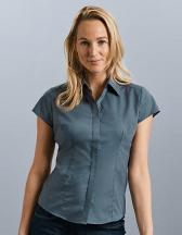 Ladies` Cap Sleeve Fitted Polycotton Poplin Shirt